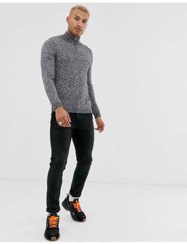 Asos Design Midweight Cotton Half Zip Jumper In Grey Twist by Asos Design