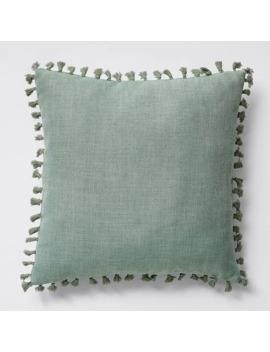 Marcella Tassel Textured Cushion   Sage Iceberg by Target