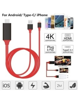 2 M Digital Av Adapter Cord 8 Pin To Hdmi Cable Usb Hdmi Smart Converter Cable For Android I Phone Type C by Wish