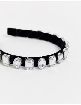 Asos Design Headband With Crystal Embellishment And Black Velvet by Asos Design