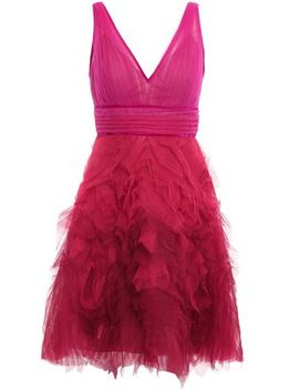 Velvet Trimmed Pleated Tulle Mini Dress by Marchesa Notte
