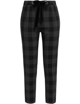 Velvet Trimmed Checked Crepe Slim Leg Pants by Claudie Pierlot