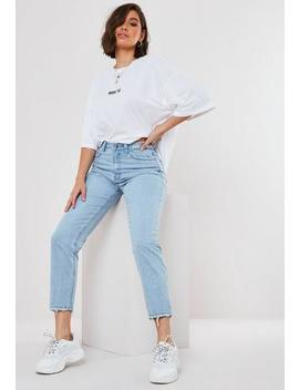 Petite Blue Riot High Waisted Distressed Waist Jeans by Missguided