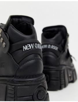 New Rock   Sneakers Alte Vegan Nere Con Suola Spessa by New Rock