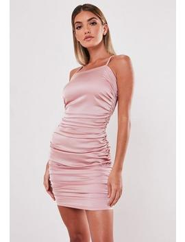 Blush Satin Square Neck Ruched Mini Dress by Missguided
