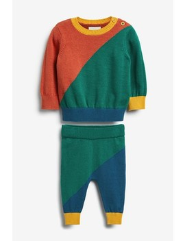 Multi Two Piece Colourblock Knitted Jumper And Leggings Set (0mths 2yrs) by Next