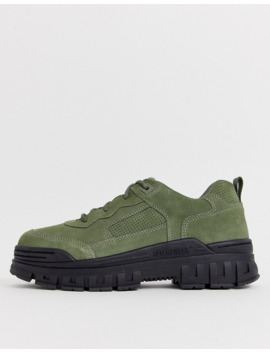 Cat Exalt Chunky Sole Sneakers In Khaki Suede by Cat