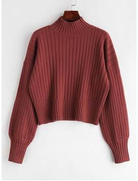Dropped Shoulder Mock Neck Sweater   Cherry Red by Zaful
