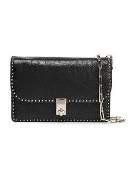 Stud Stitching Cracked Leather Shoulder Bag by Valentino Garavani