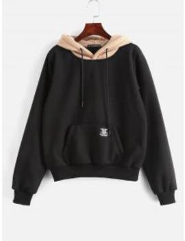 Zaful Pouch Pocket Fleece Pullover Hoodie   Black L by Zaful