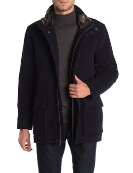 Faux Fur Collar Wool Blend Parka by Cole Haan