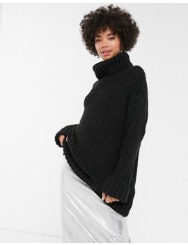 Jersey Negro De Canalé Con Cuello Vuelto De Monki by Monki