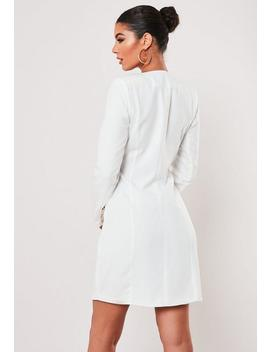 Petite White Double Breasted Blazer Dress by Missguided
