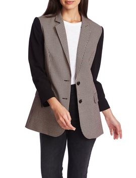 Mini Houndstooth Mixed Media Blazer by 1.State