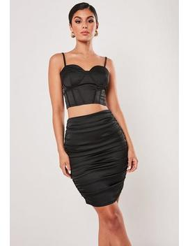 Tall Black Co Ord Satin Ruched Midi Skirt by Missguided
