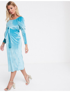 Asos Design Maternity Exclusive Square Neck Puff Sleeve Velvet Midi Dress by Asos Design