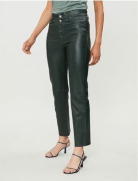 Den High Rise Stretch Leather Trousers by Joseph