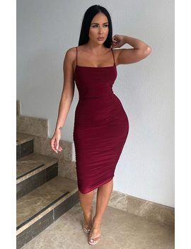 Wine Ruched Midi Bodycon Dress   Taylor by Femme Luxe