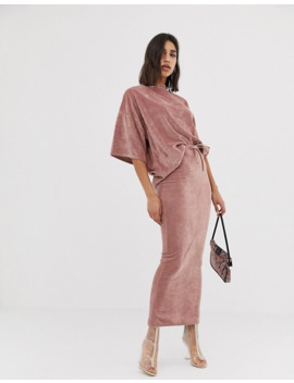Missguided Co Ord Velour Oversized T Shirt In Rose Pink by Missguided's