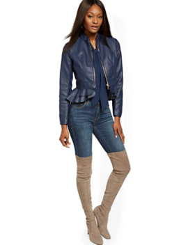 Faux Leather Peplum Jacket by New York & Company