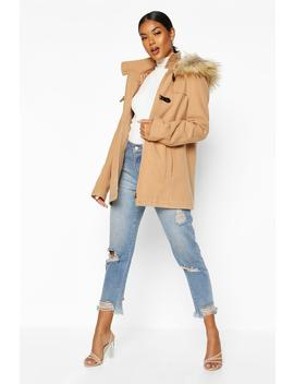 Faux Fur Trim Wool Look Duffle Coat by Boohoo
