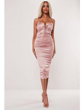 Rose Satin Lace Up Bust Cup Midaxi Dress by Missguided