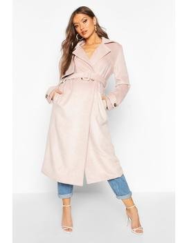 Brushed Wool Look Trench Coat by Boohoo