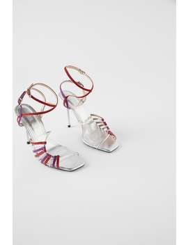 Sandalen Met Hak En Purpurine Bandjes Blue Collection by Zara
