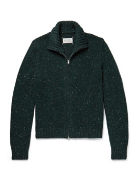 Donegal Wool Blend Zip Up Cardigan by Maison Margiela