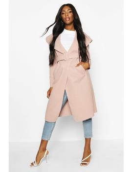 Self Fabric Buckle Belted Wool Look Coat by Boohoo
