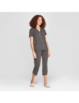 Women's Beautifully Soft Crop Notch Collar Pajama Set   Stars Above™ by Stars Above