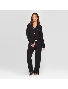 Women's Beautifully Soft Notch Collar Pant Pajama Set   Stars Above™ Black by Stars Above