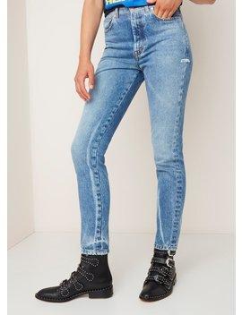 Heron Preston High Waist Tapered Fit Jeans Met Lichte Wassing by Heron Preston