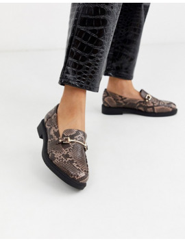 Topshop Loafers With Buckle Detail In Snake Print by Topshop