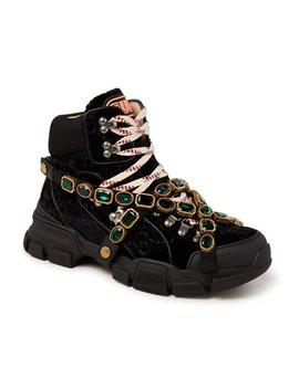 Flashtrek Sneaker Van Fluweel Met Afneembare Kristallen by Gucci
