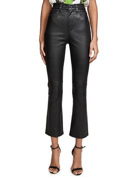 High Waisted Leather Slim Kick Jeans by 7 For All Mankind