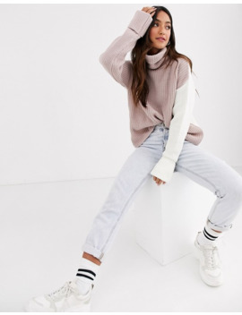 New Look Colourblock Jumper In Cream And Pink by New Look