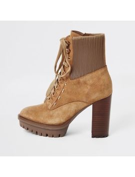 Beige Lace Up High Heeled Hiker Boots by River Island