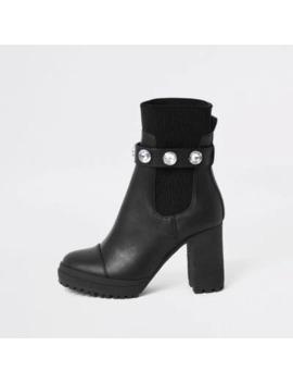 Black Embellished Strap Sock Boot by River Island