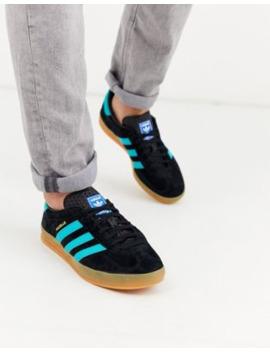 Adidas Originals Indoor Super Trainers In Black With Gum Sole by Adidas Originals