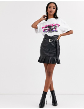 Pretty Little Thing Leather Look Western Mini Skirt With Belt Buckle Detail In Black by Pretty Little Thing