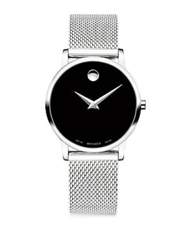 Museum Classic Black Dial, Stainless Steel Mesh Bracelet Watch by Movado
