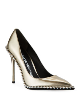 Rie Studded Liquid Patent Leather Pumps by Alexander Wang