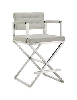 "Director 26"" Light Gray And Steel Tufted Counter Stool by Lamps Plus"
