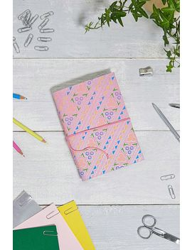 Handmade Pink Retro Geo Paper Notebook by Urban Outfitters
