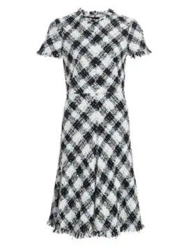Plaid Tweed Wool Blend A Line Dress by Alexander Mc Queen