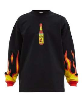 Hot Sauce Print Jersey Sweater by Vetements
