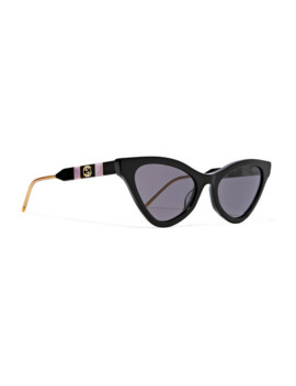 Cat Eye Acetate, Gold Tone And Enamel Sunglasses by Gucci