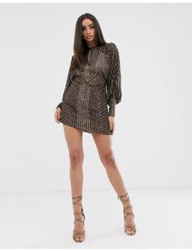 Asos Design Mini Dress With Blouson Sleeve In Linear Embellishment by Asos Design