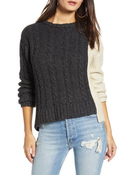 Colorblock Asymmetrical Hem Sweater by Prma